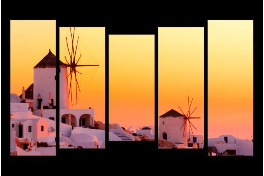 Модульная картина Греция мельницы