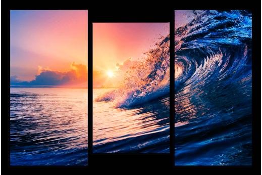 Модульная картина Волна триптих