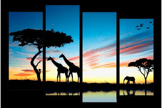 Модульная картина Закат в Африке