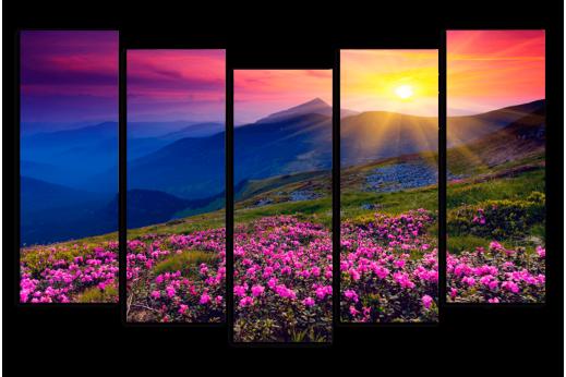 Модульная картины Закат в горах
